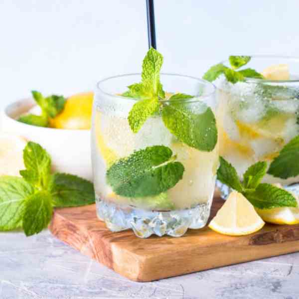 Gin Drink Garnished with Fresh Mint